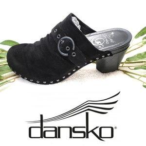 Dansko Nadine Clogs Black Suede Studs Buckle 10